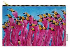 Peace Love And Flamingos Carry-all Pouch by Patti Schermerhorn