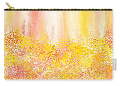 Peach And Yellow Garden- Peach And Yellow Art Carry-all Pouch by Lourry Legarde