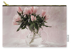 Carry-all Pouch featuring the photograph Peach Godetia Bouquet by Sandra Foster