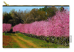 Carry-all Pouch featuring the photograph Peach Orchard In Carolina by Lydia Holly
