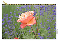 Peach Roses In A Lavender Field Of Flowers Carry-all Pouch