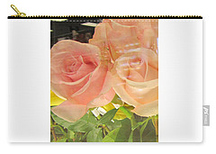 Peach Roses In Greeting Card Carry-all Pouch