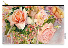 Peach Roses In Vase Carry-all Pouch by Bonnie Rinier