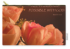 Peach Roses With Scripture Carry-all Pouch