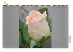 Fragile Peach Rose Bud Carry-all Pouch by Belinda Lee
