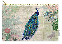 Carry-all Pouch featuring the digital art Peacock And Botanical Art by Peggy Collins
