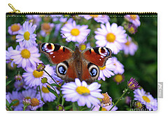 Peacock Butterfly Perched On The Daisies Carry-all Pouch