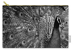 Carry-all Pouch featuring the photograph Peacock Bw by Ron White