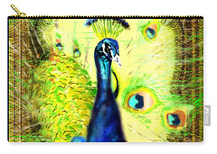 Carry-all Pouch featuring the drawing Peacock by Daniel Janda
