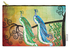 Carry-all Pouch featuring the digital art Peacock Love by Kim Prowse