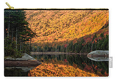 Carry-all Pouch featuring the photograph Peak Fall Foliage On Beaver Pond by Jeff Folger