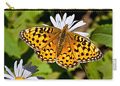 Carry-all Pouch featuring the photograph Pearl Border Fritillary Butterfly On An Aster Bloom by Jeff Goulden