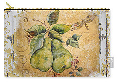 Pears And Dragonfly On Vintage Tin Carry-all Pouch by Jean Plout