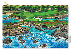 Carry-all Pouch featuring the painting Pebble Beach 15th Hole-north by Jane Girardot
