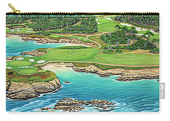 Carry-all Pouch featuring the painting Pebble Beach 15th Hole-south by Jane Girardot