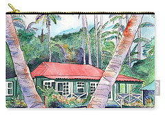 Carry-all Pouch featuring the painting Peeking Between The Palm Trees 2 by Marionette Taboniar