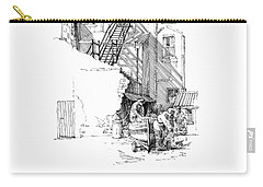 Carry-all Pouch featuring the drawing Peel Back Street by Paul Davenport