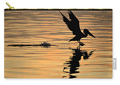 Pelican At Sunrise Carry-all Pouch by Leticia Latocki