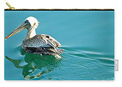 Carry-all Pouch featuring the photograph Pelican Swimming by Clare Bevan