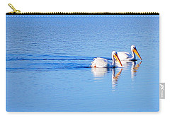 Carry-all Pouch featuring the photograph Pelicans On The Bay by AJ  Schibig