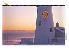 Pemaquid Point Lighthouse Christmas Snow Wreath Maine Carry-all Pouch by Keith Webber Jr