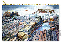 Carry-all Pouch featuring the painting Pemaquid Rocks by Roger Rockefeller