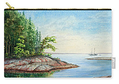 Carry-all Pouch featuring the painting Penobscot Inlet by Roger Rockefeller