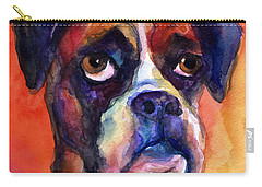 pensive Boxer Dog pop art painting Carry-all Pouch