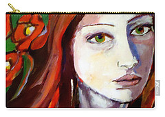 Carry-all Pouch featuring the painting Pensive Lady by Helena Wierzbicki