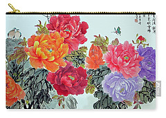 Carry-all Pouch featuring the photograph Peonies And Birds by Yufeng Wang