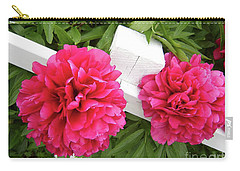 Peonies Resting On White Fence Carry-all Pouch by Barbara Griffin