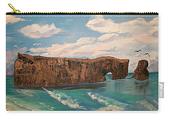 Carry-all Pouch featuring the painting Perce Rock by Sharon Duguay