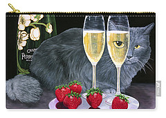 Carry-all Pouch featuring the painting Perrier Jouet Et Le Chat by Karen Zuk Rosenblatt