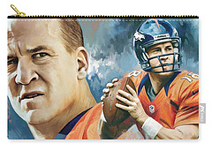 Peyton Manning Artwork Carry-all Pouch by Sheraz A