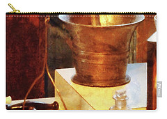 Carry-all Pouch featuring the photograph Pharmacist - Brass Mortar And Pestle by Susan Savad