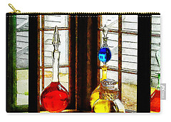 Carry-all Pouch featuring the photograph Pharmacist - Colorful Bottles In Drug Store Window by Susan Savad