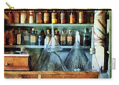 Carry-all Pouch featuring the photograph Pharmacist - Glass Funnels And Barber Pole by Susan Savad