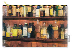 Carry-all Pouch featuring the photograph Pharmacist - Mortar Pestles And Medicine Bottles by Susan Savad