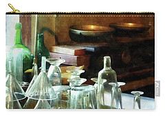Carry-all Pouch featuring the photograph Pharmacy - Glass Funnels And Bottles by Susan Savad
