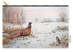 Pheasant And Bramblefinch In The Snow Carry-all Pouch by Carl Donner