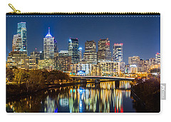 Philadelphia Cityscape Panorama By Night Carry-all Pouch by Mihai Andritoiu
