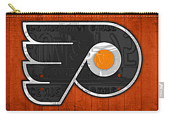 Philadelphia Flyers Hockey Team Retro Logo Vintage Recycled Pennsylvania License Plate Art Carry-all Pouch by Design Turnpike