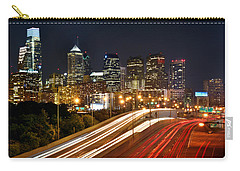 Philadelphia Skyline At Night In Color Car Light Trails Carry-all Pouch