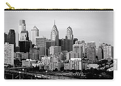 Philadelphia Skyline Black And White Bw Pano Carry-all Pouch