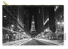 Philadephia City Hall -- Black And White Carry-all Pouch by Stephen Stookey