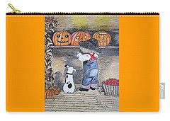 Picking Out The Halloween Pumpkin Carry-all Pouch by Kathy Marrs Chandler