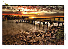 Carry-all Pouch featuring the photograph Pier At Smith Mountain Lake by Joshua Minso
