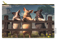 Pigs On A Fence Carry-all Pouch by Daniel Eskridge