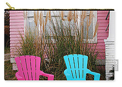 Pink And Blue Chairs By Jan Marvin Carry-all Pouch