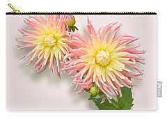 Pink And Cream Cactus Dahlia Carry-all Pouch by Jane McIlroy